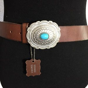 Genuine brown leather belt silver & turquoise XL